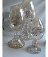 "3  Mercury Glass Finials  Large Egg  Shaped Graduated Sizes 12"" Tallest ... - $78.16"