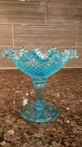 Vtg Aqua Fenton Blue Glass Footed Compote Candy Dish Diamond Point Ruffl... - $33.60