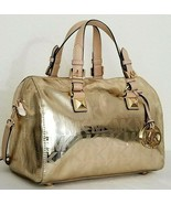 MICHAEL KORS GRAYSON PALE GOLD MIRROR METALLIC MONOGRAM MD SATCHEL BAGNWT! - $218.49