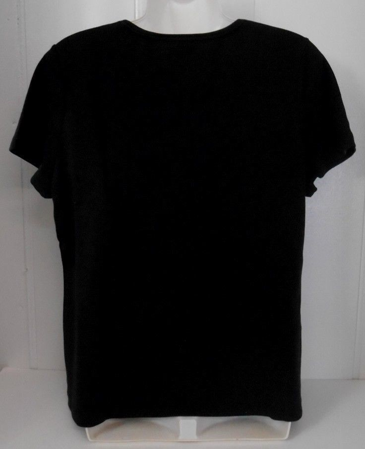 Charter Club~Sz M*~Black~100% Pima Cotton Knit~Cap Sleeve Shirt/Top