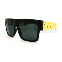 Designer Fashion Sunglasses Bold Flat Top Thick Gold Chain Frame - $9.95