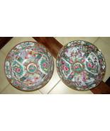 """Lot (2) Antique Hand Painted ROSE MEDALLION Round Porcelain Bowls (10"""" d... - $48.90"""