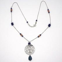925 Silver Necklace, Lapis Lazuli, pendant locket tree of life, image 2