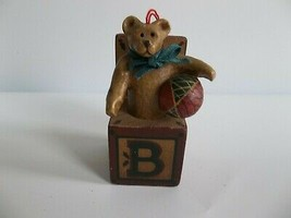 Vtg Kurt Adler Christmas Ornament Wood Block B is for Bear - $9.99