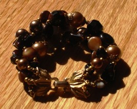 Vintage crown trifari autumn amber bronze art glass triple strand bracelet4 thumb200