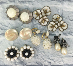 Lot 6 Pair Clip On Earrings White Mixed Lot Plastic Faux Pearl Wedding - $14.85