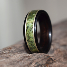 Wood Ring,Ebony with Serpentine, brass Inlay, Men's Wood Ring, Women's W... - $90.00