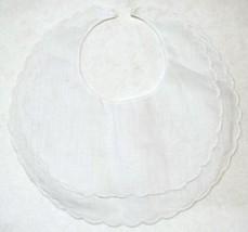 Bobbin Inc 38BB2800 White Linen Double Scalloped Baby Bib image 1
