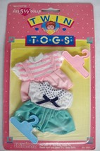 "Twin Togs Outfits 2 Dresses Pink Teal White Fits 5.5"" Baby Dolls Shillma... - $10.88"
