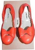 Miu Miu By Prada Orange Leather Scrunch Bow Ballet Flats Ballerina Shoe ... - $259.99