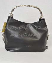 NWT Michael Kors Isabel Large Convertible Shoulder Bag in Black Smooth L... - $289.00