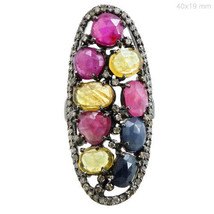 Sterling Silver Pave Diamond Multi Sapphire Gemstone Ring Vintage Look J... - $425.43