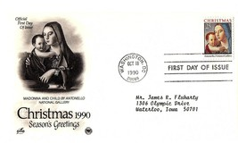 October 18, 1990 First Day of Issue, Postal Society Cover, Madonna & Child - $1.09