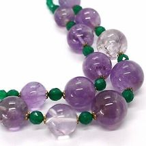 SILVER 925 NECKLACE, DOUBLE ROW, SPHERES AMETHYST LARGE, CHALCEDONY GREEN image 3