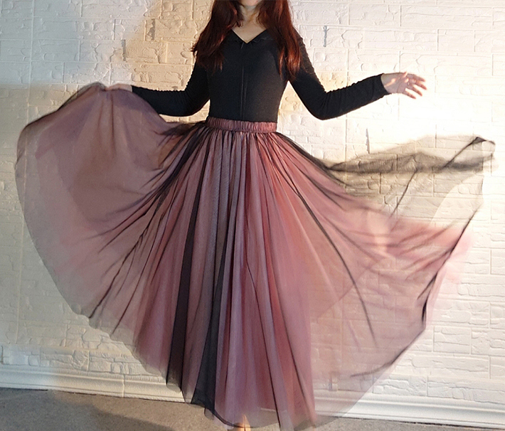 Black cover tulle skirt yellow pink  6