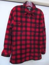 RALPH LAUREN PETITES Shirt Style Jacket Coat RED/BLK FULL ZIP FLEECE Siz... - $39.95