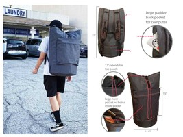LAUNDRY BACKPACK WITH SHOULDER STRAPS POCKETS DUFFLE - $19.95