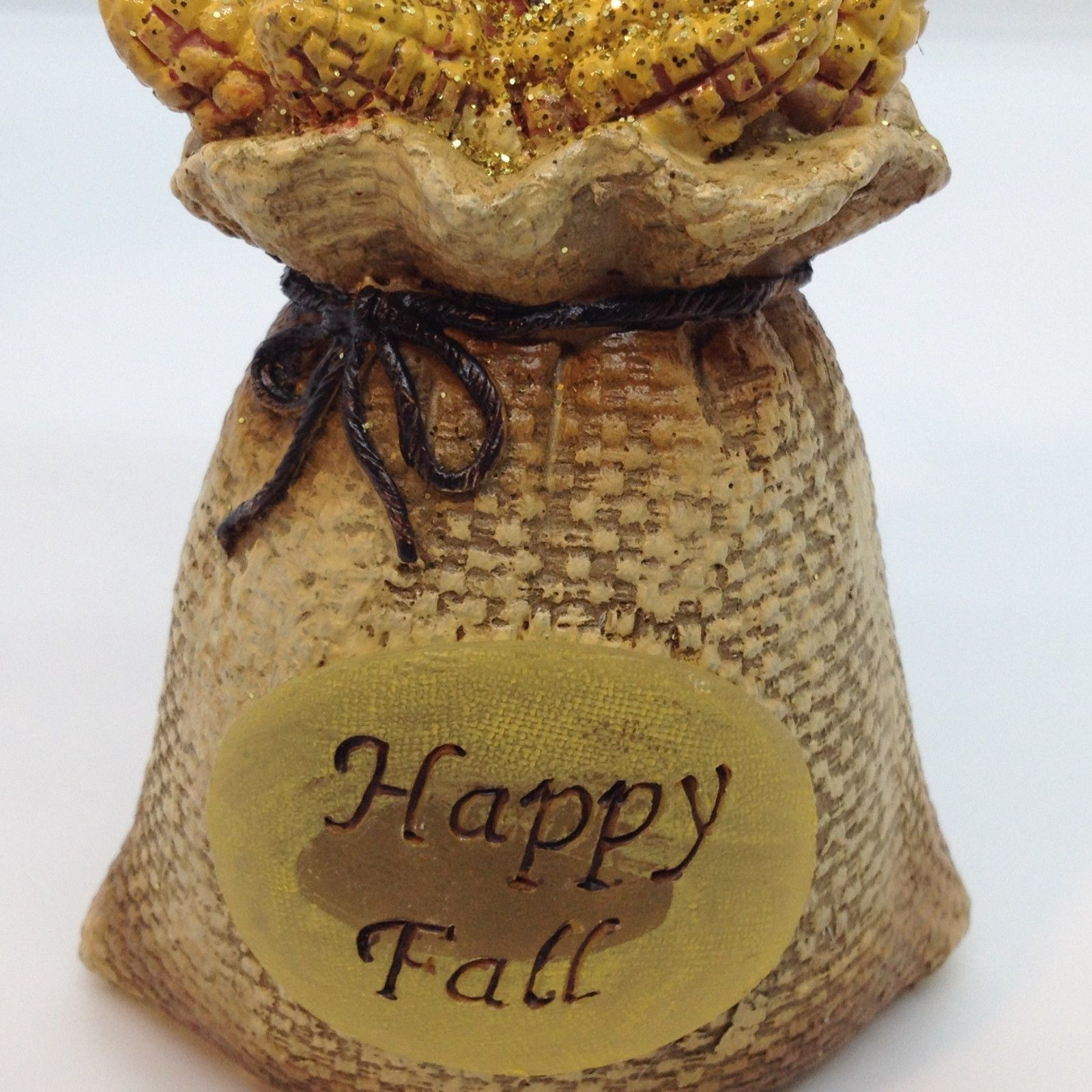 "HAPPY FALL BIRD FIGURINE Light Up Thanksgiving Corn Cob Home Decor Gift 6"""