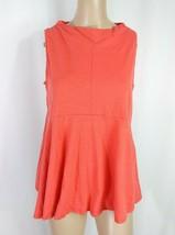 Anthropologie Deletta Mock Neck Swing Red Orange Slub Peplum Knit Tank T... - $9.50