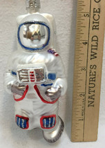Astronaut Glass Ornament Colorful Christmas American Flag Glitter Holiday - $14.84
