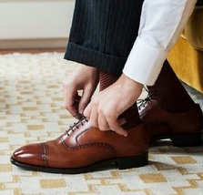Handmade Men's Brown Leather Dress/Formal Oxford Shoes image 4
