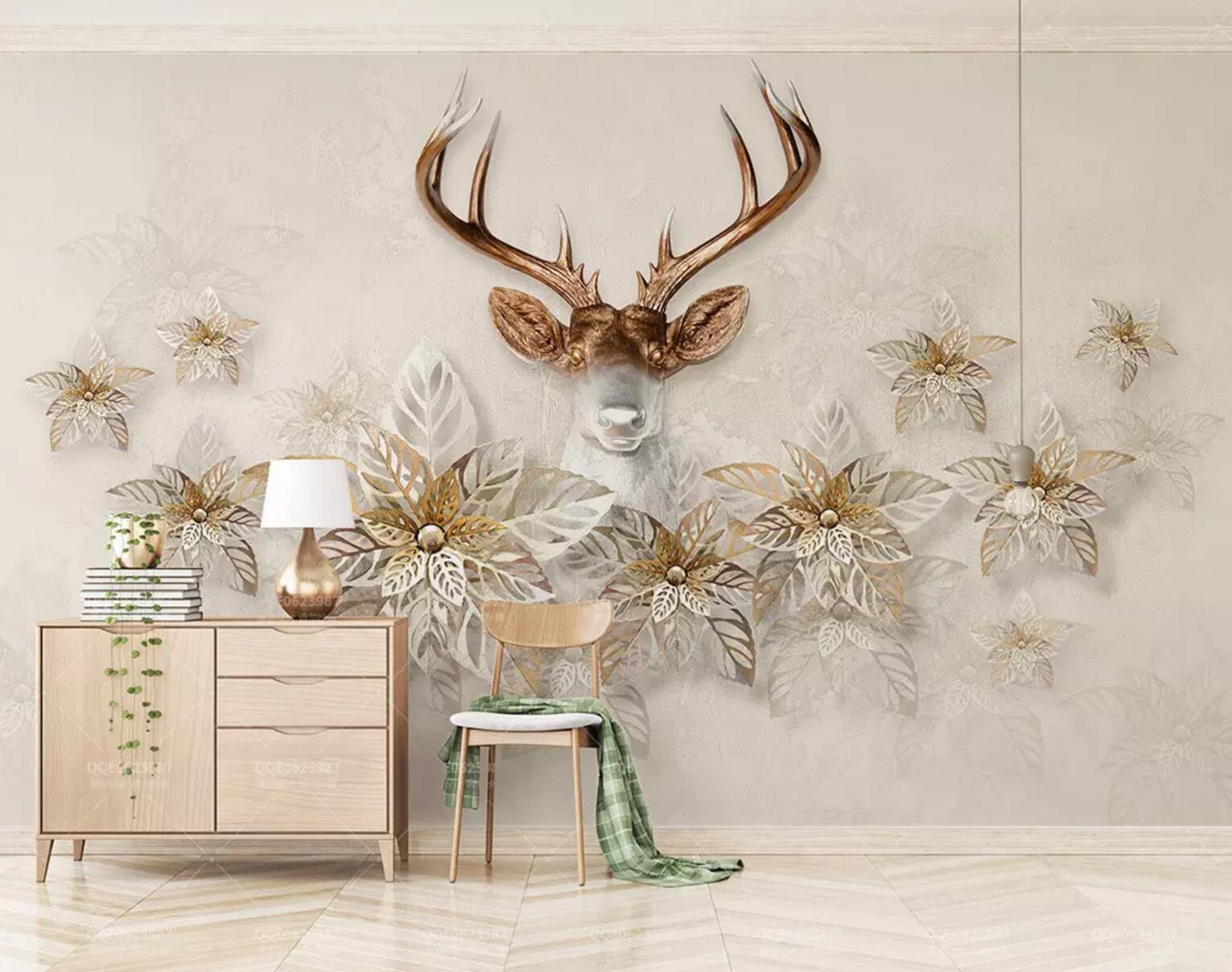 3d Elk Flowers 021 Wall Paper Exclusive Mxy Wallpaper