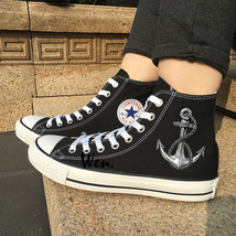 High Top Black Sneakers Converse Original Design Sailing Rope Anchor Chu... - $119.00