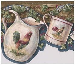 White Cup Kettle with Rooster Hanging on Hooks Red Berries Aegean Blue V... - $17.81