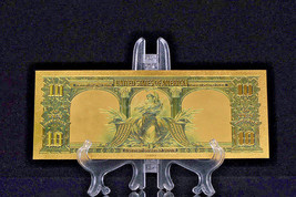 PRECISE DETAIL~GOLD~1901 UNC. $10 DOLLAR BISON Rep*Banknote~US SELLE - $12.99