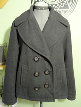 MERONA Wool Peacoat Jacket womens XL Charcoal Gray double breasted Winte... - $46.52