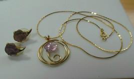Gold-tone Purple Floral Lucite Pendant Necklace & Earrings - $23.75
