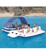Inflatable Island 6 Person Giant Water Raft Swim Float Boating Tubing Ad... - $247.45