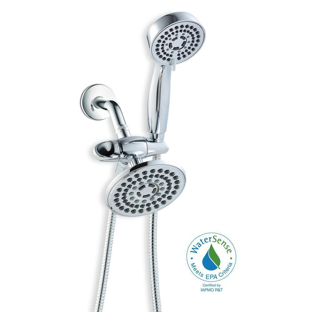 Primary image for Glacier Bay 6-Spray Hand Shower and 1-Spray Raincan Shower Head Combo Kit in Chr