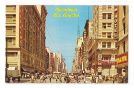 Downtown Lost Angeles CA Broadway Street Scene Signs Pedestrians Vntg Po... - $6.69