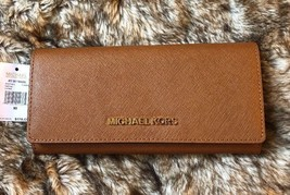 NWT MICHAEL KORS LEATHER JET SET TRAVEL CARRYALL FLAP WALLET IN LUGGAGE - $80.29