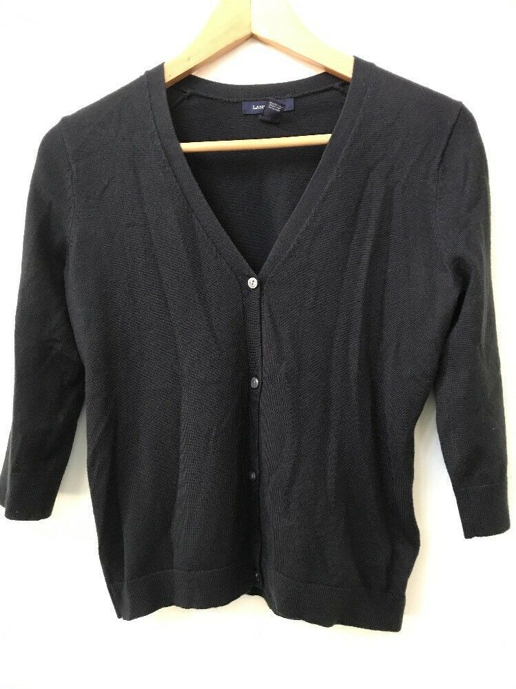 Lands' End XXS Petite Cardigan Sweater Black V-Neck Button Up 3/4 Sleeve - $13.95