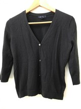 Lands' End XXS Petite Cardigan Sweater Black V-Neck Button Up 3/4 Sleeve - $13.95
