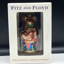 Fitz And Floyd Glass Christmas Ornament Teddy Bear Drum Drummer Boy Nib Box Xmas - $27.72