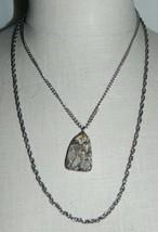 VTG Silver Tone Multi Chain Fossil Stone Pendant Necklace - $29.70