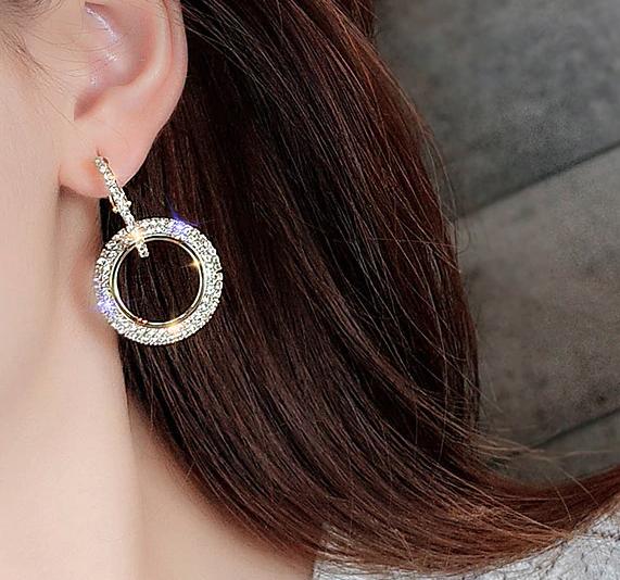 925 silver needle rhinestone circle crystal from Swarovski earrings women image 2