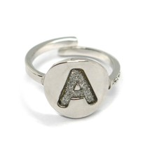 REBECCA BRONZE RING, LETTER A, INITIAL WITH GLITTER, MADE IN ITALY image 1