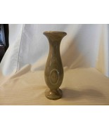 "Polished Marble Stone Bud Vase 7.75"" Tall Gray, White Swirl Pattern - $55.69"