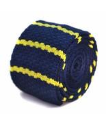 Frederick Thomas Knitted Silk Mens Tie - Dark Navy Blue - Bright Yellow ... - $13.70