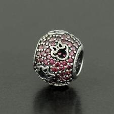 Pandora Sterling Silver Disney Minnie Silhouettes Red Pave Charm