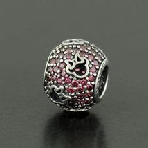 Pandora Sterling Silver Disney Minnie Silhouettes Red Pave Charm - $39.00