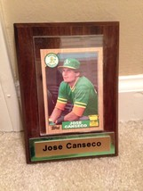 1987 Topps Jose Canseco Oakland Athletics Baseball Card In Display W/ Name Plate - $10.00