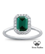 Engagement Women's Ring 14k White Gold Plated Green Sapphire Rectangular Shape - $81.78