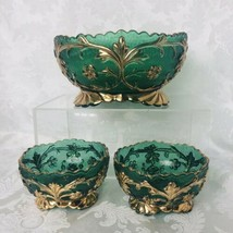Vintage Green Glass Berry Fruit Bowl - 2 Nappies Gold Trim EAPG Sawtooth... - $37.13