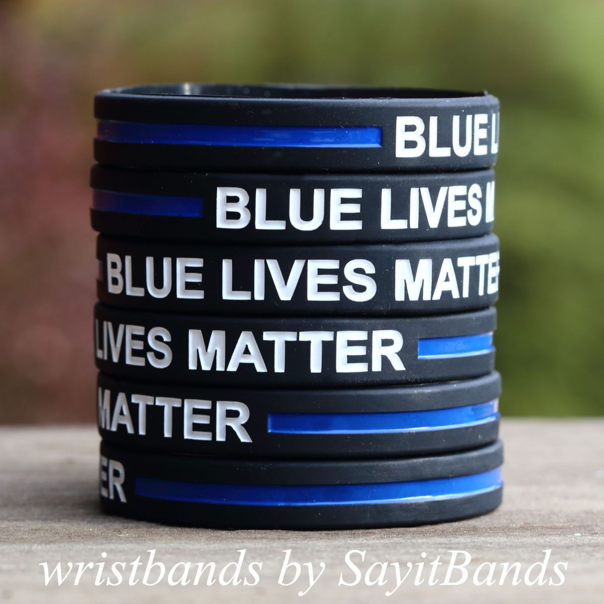 Primary image for 10 Blue Lives Matter Wristbands Bracelets Cops Police Officers Patrol Awareness