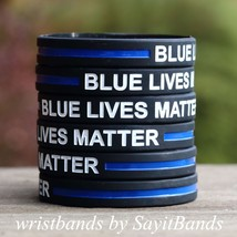 10 Blue Lives Matter Wristbands Bracelets Cops Police Officers Patrol Aw... - $8.79+